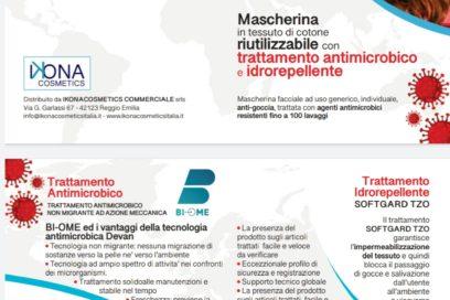Mascherina di cotone riutilizzabile con trattamenti Antimicrobico e Idrorepellente